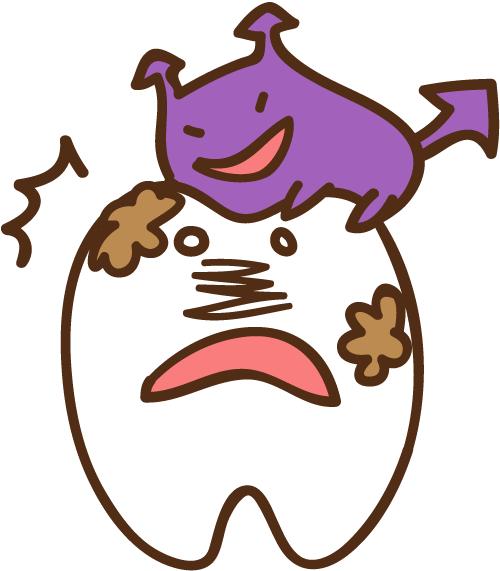 ばい菌に襲われる歯 イラスト
