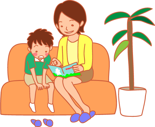 親子 男の子とお母さん 待合室 イラスト