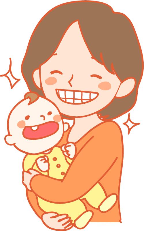 赤ちゃんとお母さん きれいな歯 イラスト