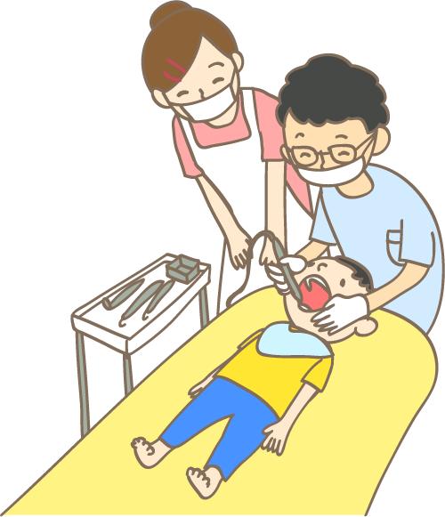 小児歯科 先生と衛生士と男の子 歯の治療 イラスト