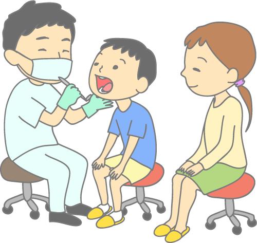 小児歯科 先生と男の子とお母さん 診察