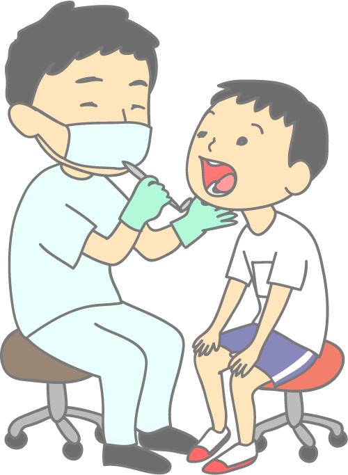 小児歯科 健康診断 先生と体操服の男の子 診察 イラスト